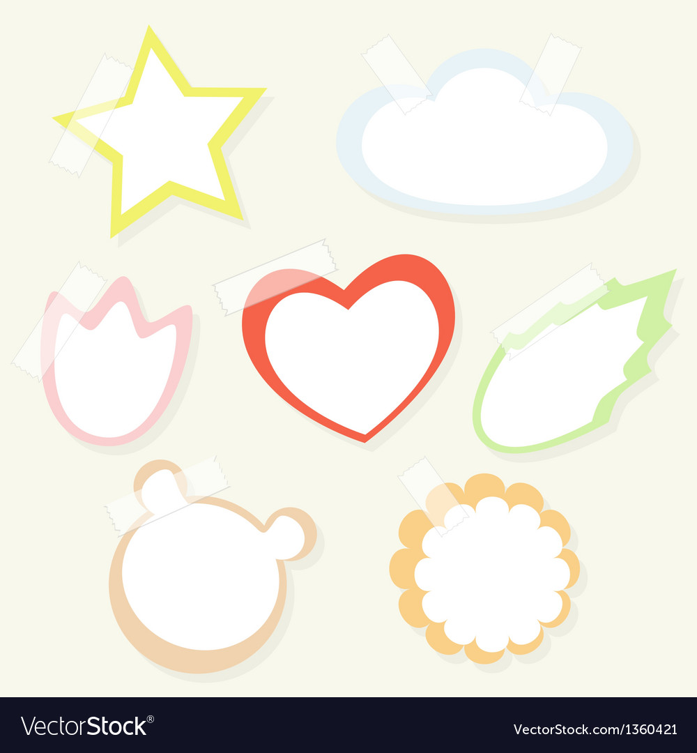 Set of colorful childish paper stickers with tape vector | Price: 1 Credit (USD $1)