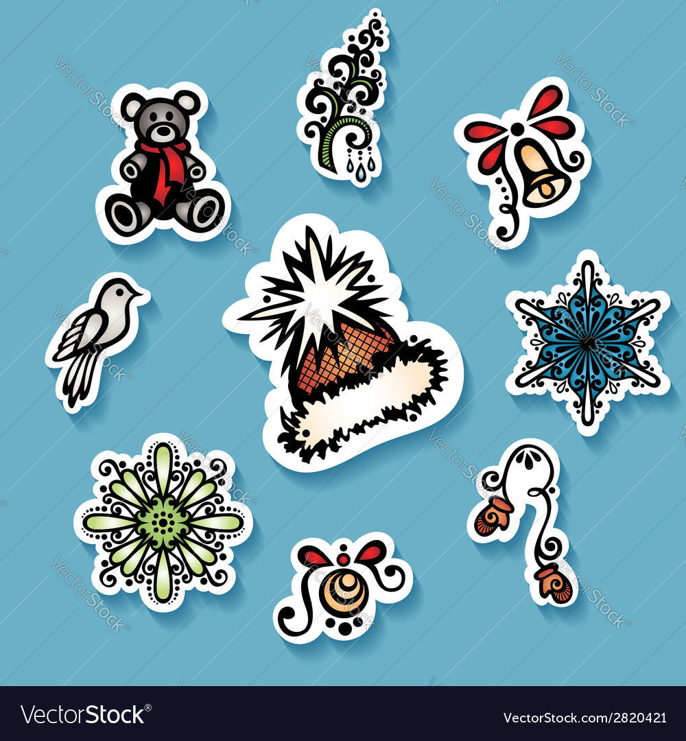 Set of stickers with ornamental christmas things vector | Price: 1 Credit (USD $1)