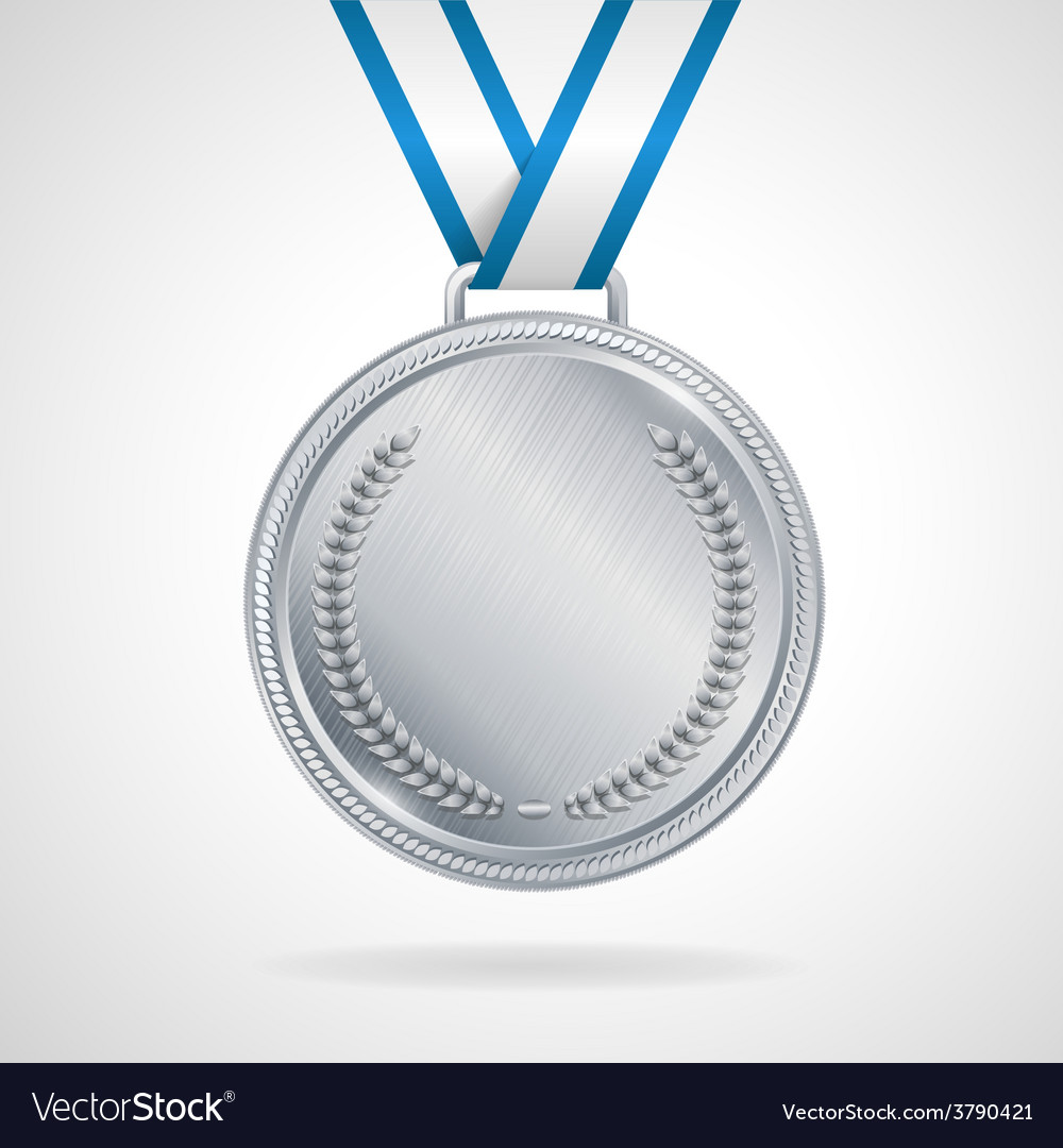 Silver medal with ribbon vector | Price: 1 Credit (USD $1)