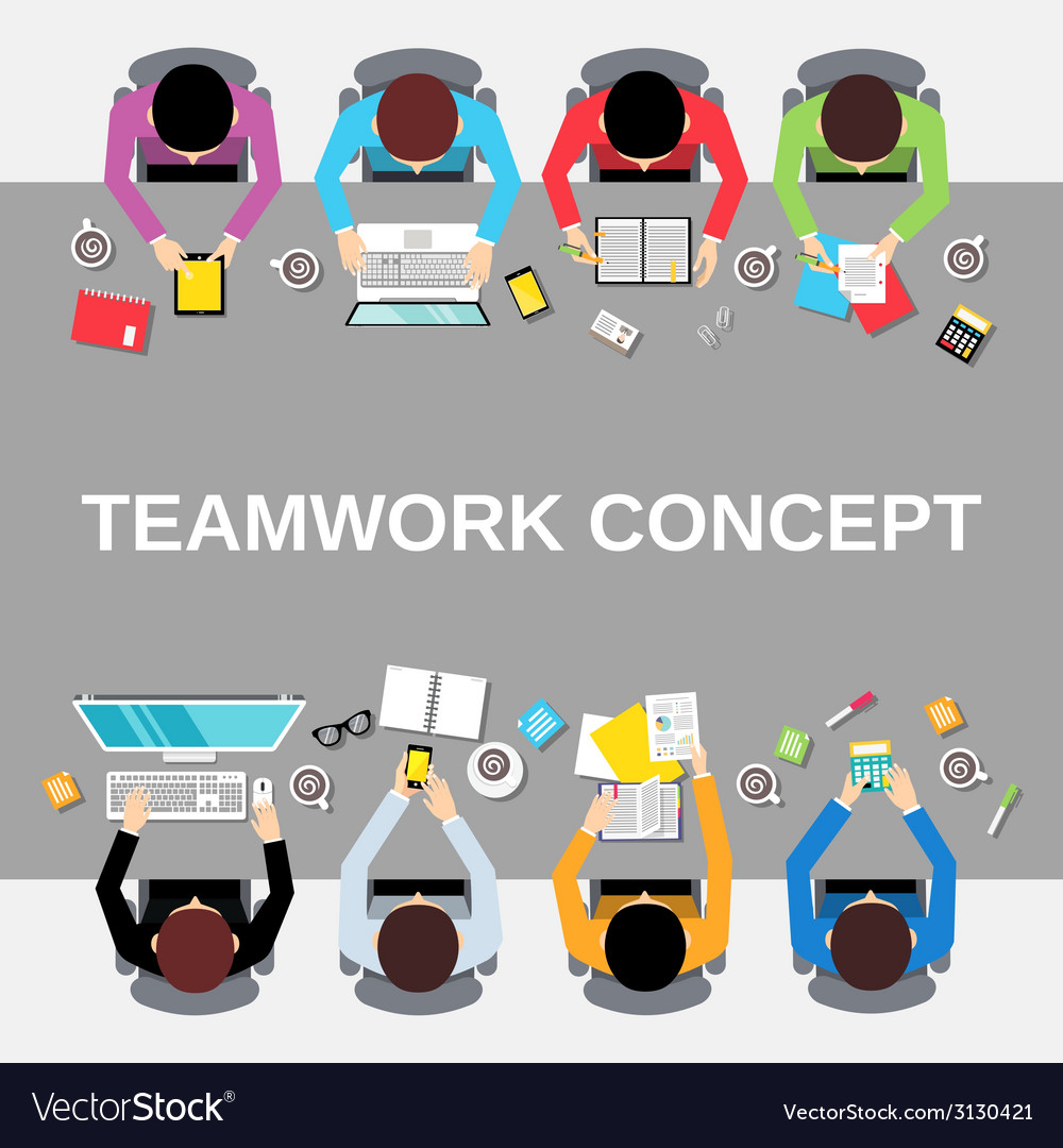Teamwork people top view vector | Price: 1 Credit (USD $1)