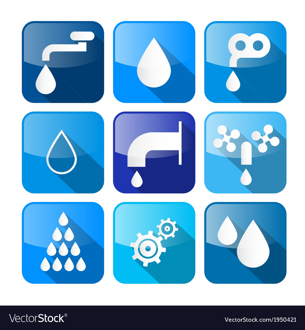 Water buttons - symbols - icons set vector   Price: 1 Credit (USD $1)