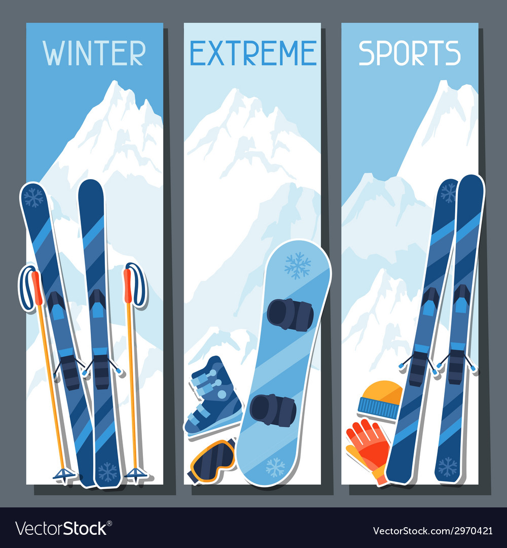 Winter extreme sports banners with mountain winter vector | Price: 1 Credit (USD $1)