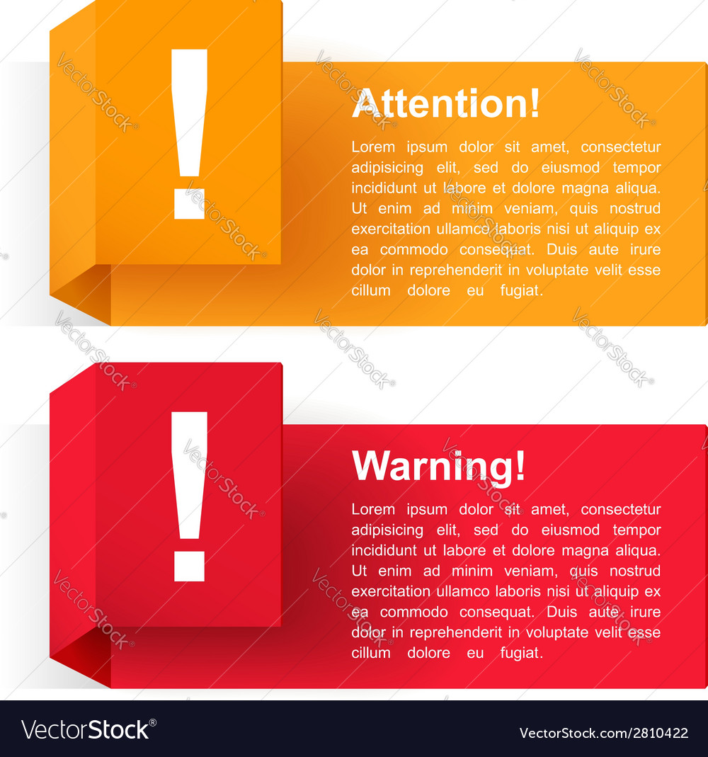 Attention and warning banners vector | Price: 1 Credit (USD $1)