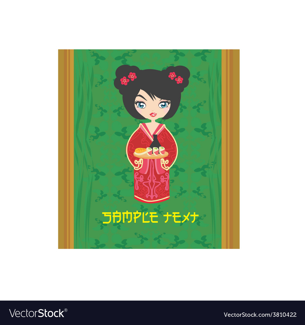 Beautiful asian girl enjoy sushi - menu template vector | Price: 1 Credit (USD $1)