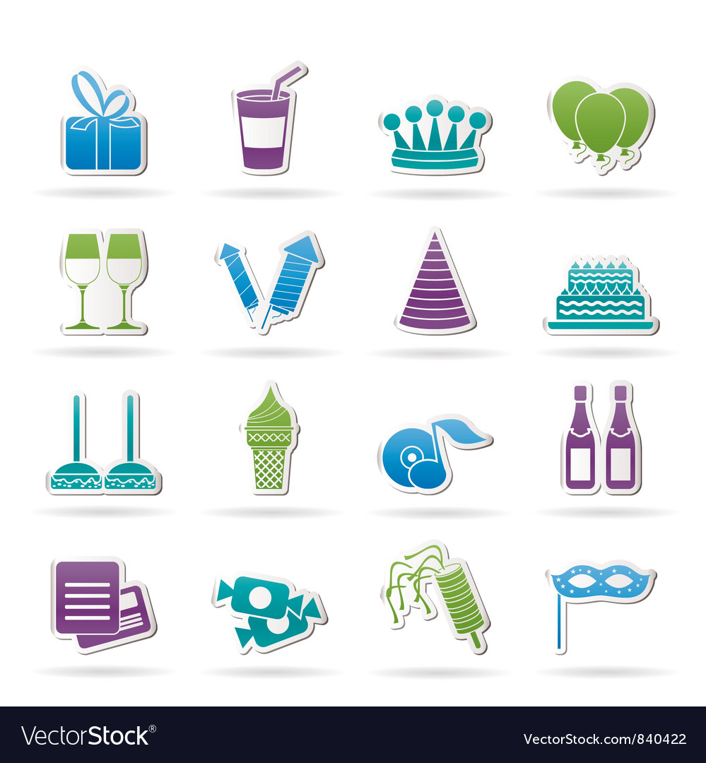 Birthday and party icons vector | Price: 1 Credit (USD $1)
