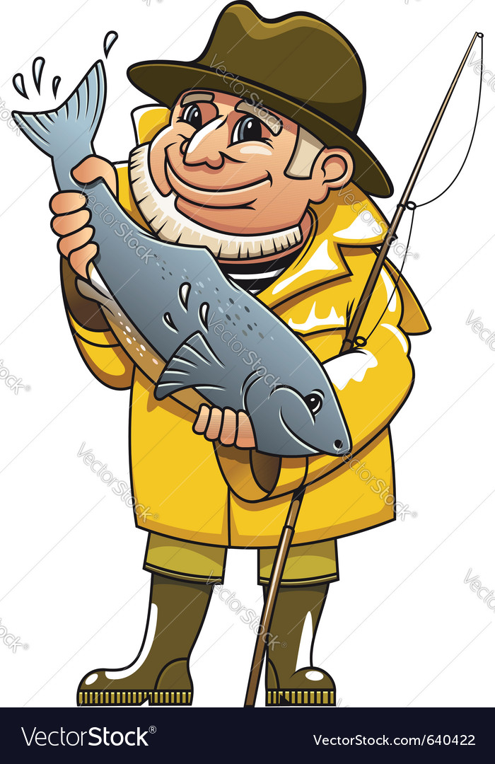 Fisherman cartoon vector | Price: 1 Credit (USD $1)