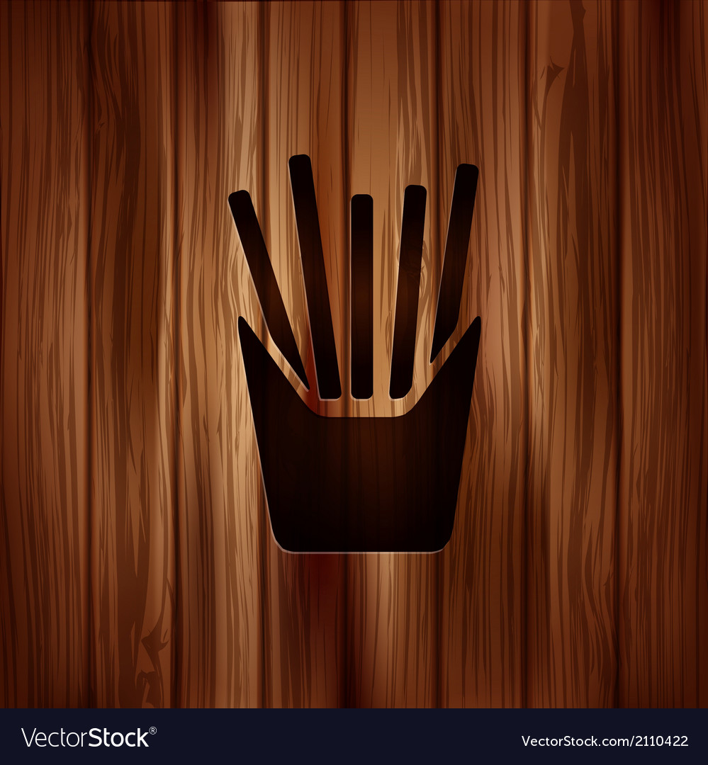 Fried potatoes icon wooden background vector | Price: 1 Credit (USD $1)