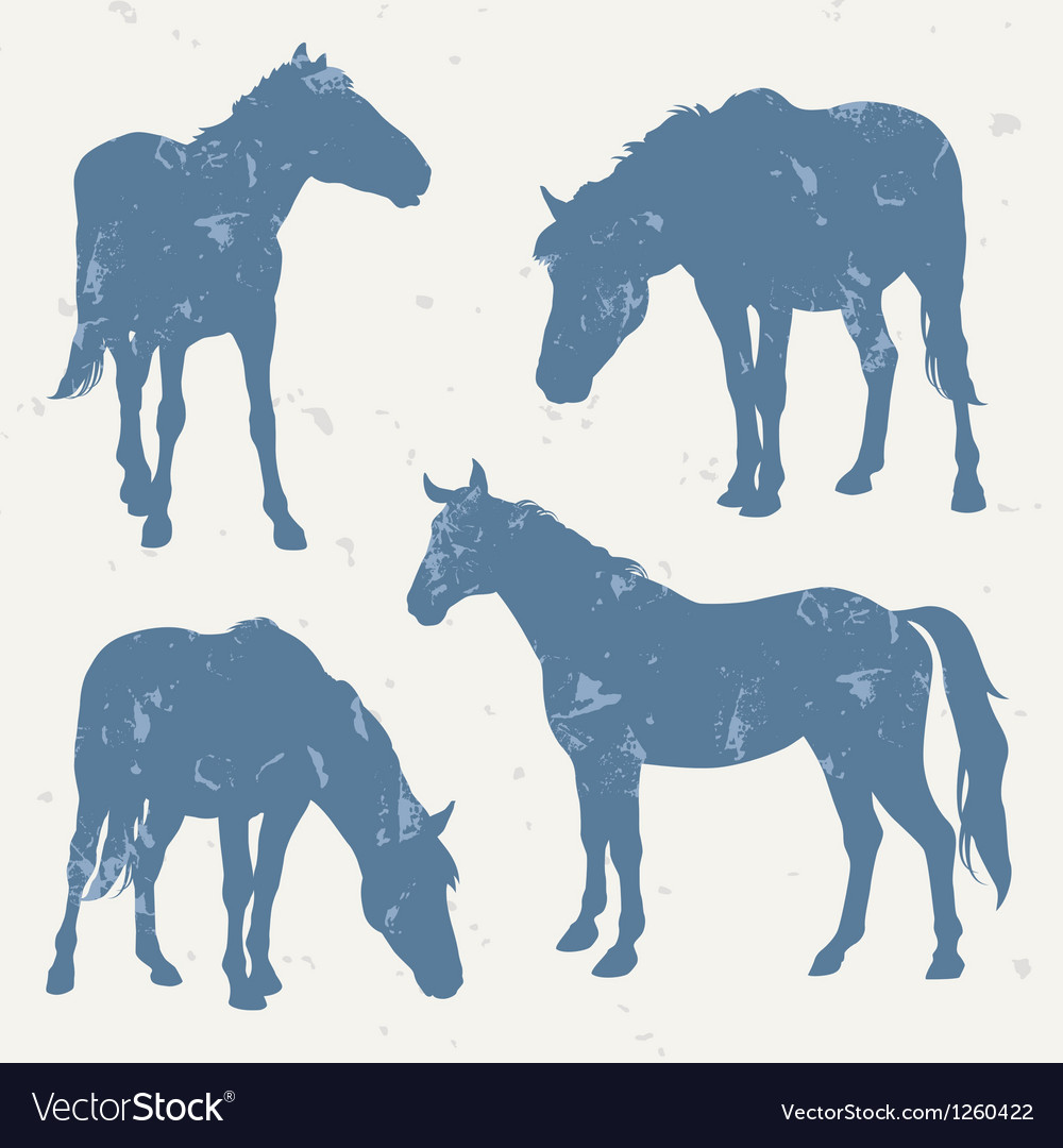 Horse silhouettes with grunge effect vector | Price: 1 Credit (USD $1)