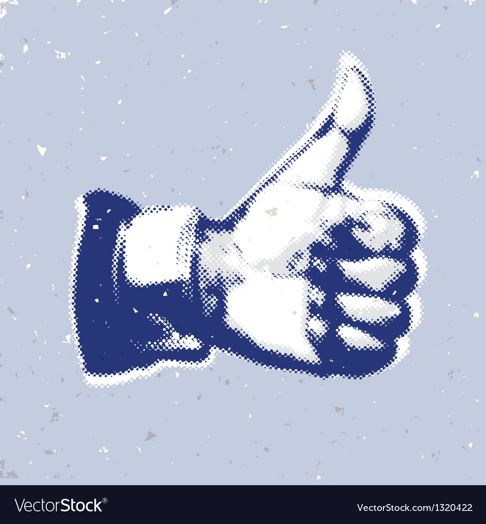 Likethumbs up symbol on a blue background vector | Price: 1 Credit (USD $1)