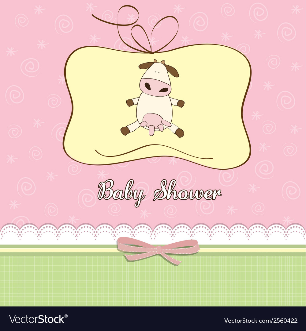 New baby girl announcement card with cow vector | Price: 1 Credit (USD $1)