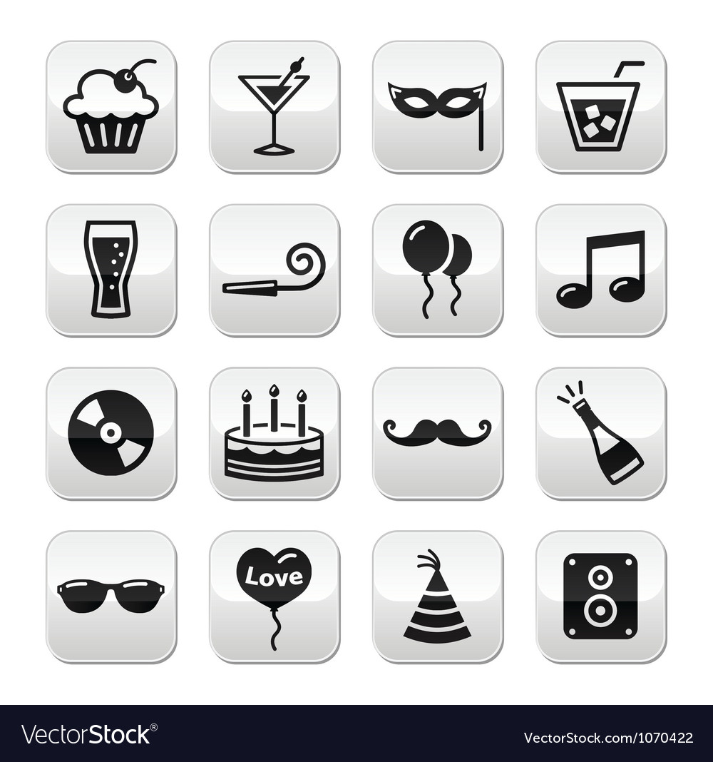 Party birthday new year christmas buttons set vector | Price: 1 Credit (USD $1)