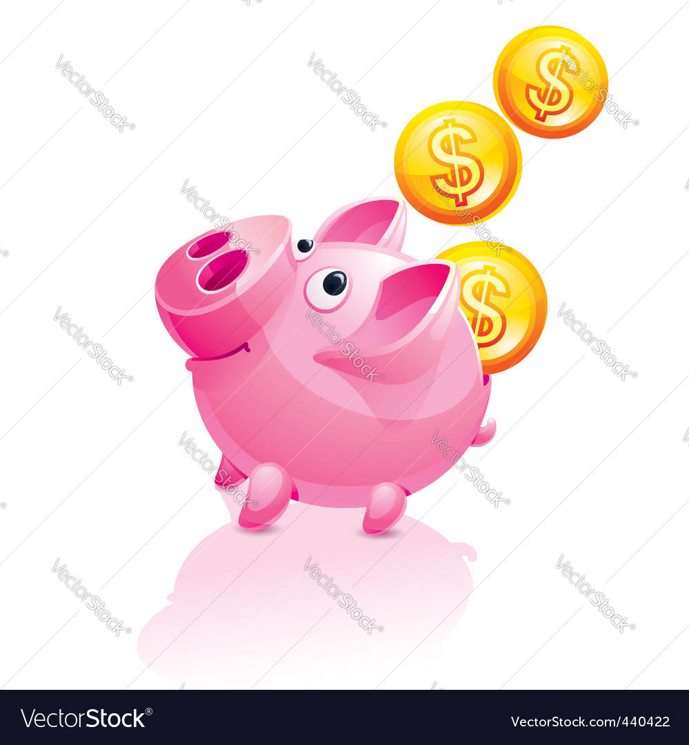 Piggy bank and falling money vector | Price: 3 Credit (USD $3)