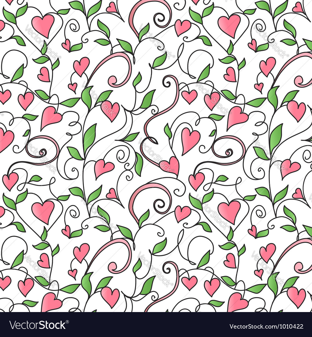 Seamless background with hearts ornament vector | Price: 1 Credit (USD $1)