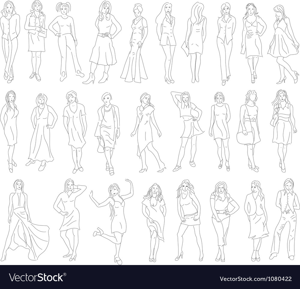 Sketches of women vector | Price: 1 Credit (USD $1)