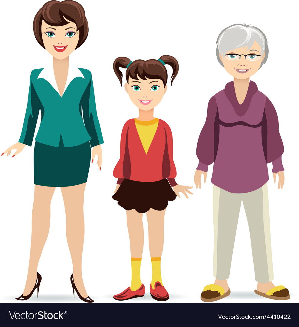Three ages of women daughter mother and vector | Price: 1 Credit (USD $1)