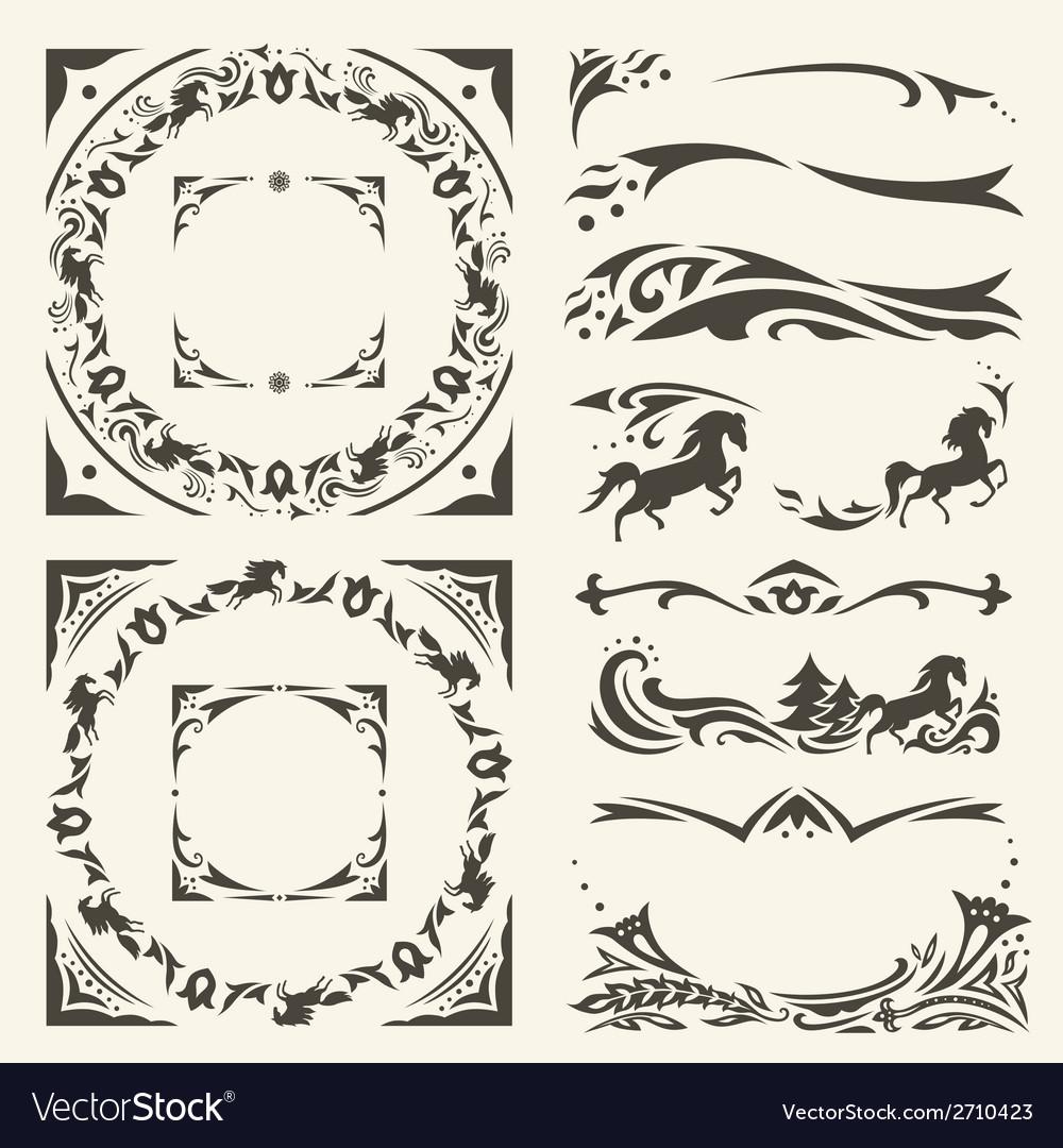 Arabic frames and design elements set vector | Price: 1 Credit (USD $1)