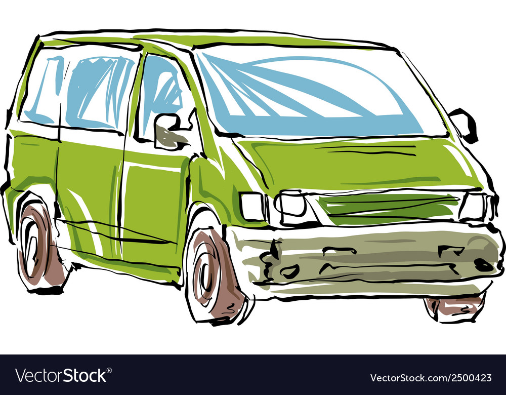 Colored hand drawn car on white background of a mi vector | Price: 1 Credit (USD $1)