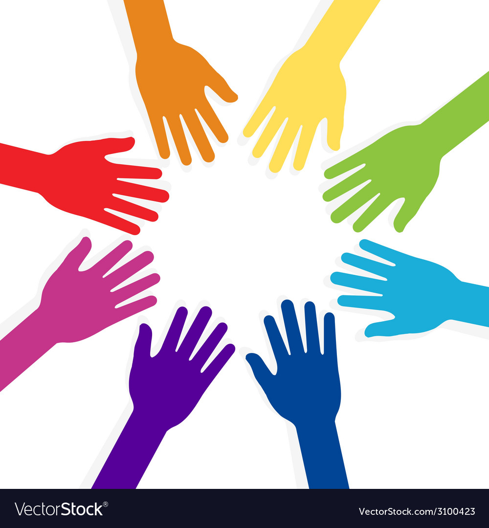 Colorful hands forming shape teamwork vector | Price: 1 Credit (USD $1)