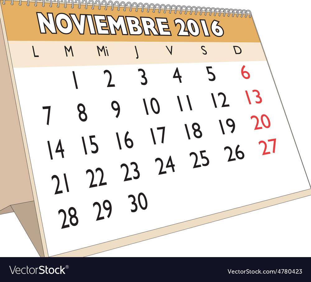 Noviembre 2016 vector | Price: 1 Credit (USD $1)