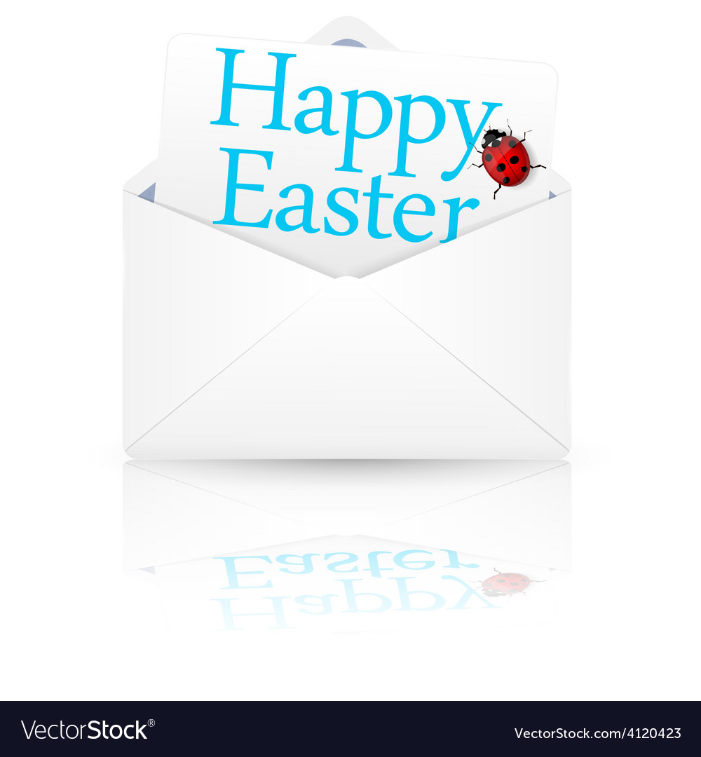 Open envelope with inscription happy easter vector