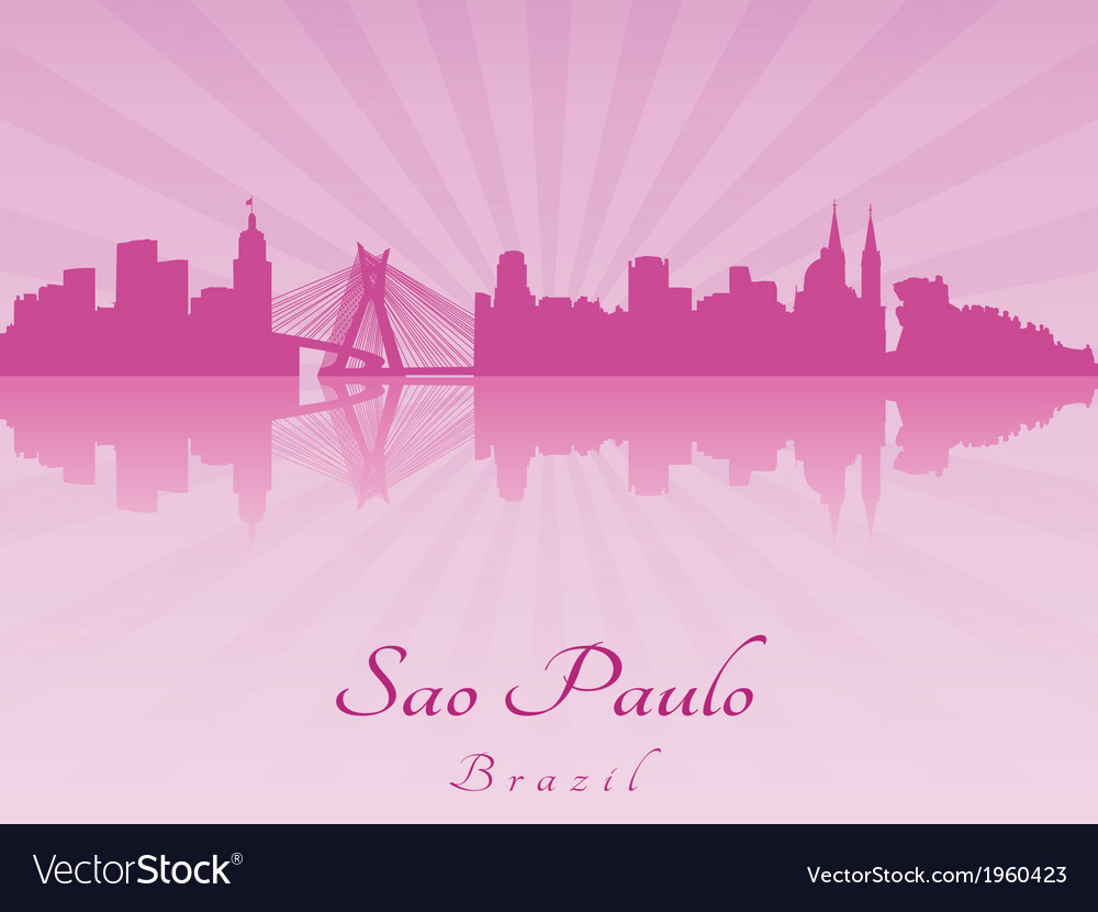 Sao paulo skyline in purple radiant orchid vector | Price: 1 Credit (USD $1)