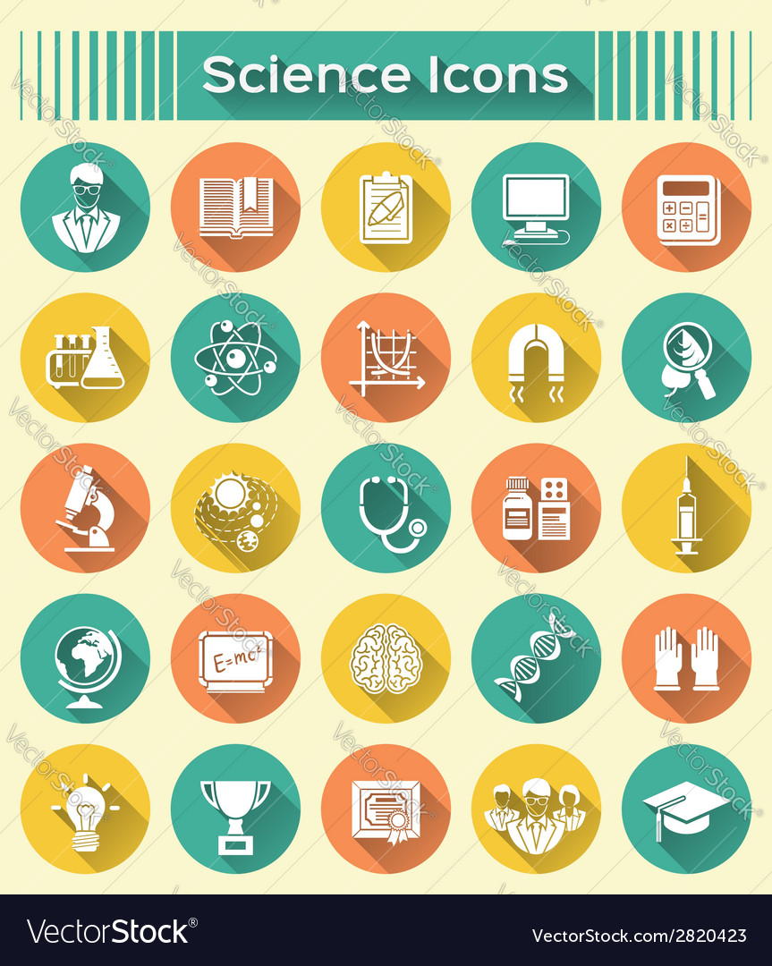 Science icons with long shadows vector | Price: 1 Credit (USD $1)