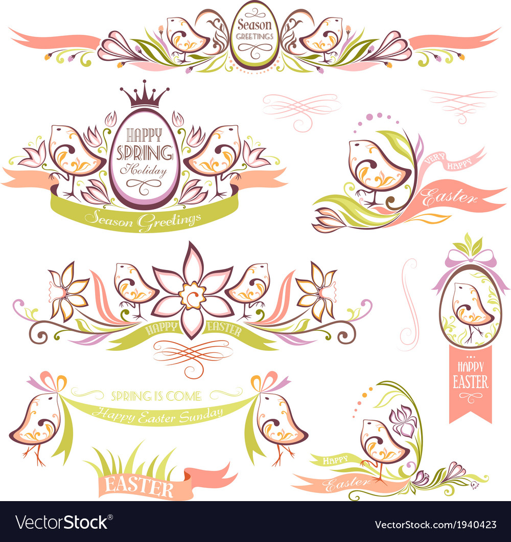 Set of easter decorative emblems with chickens vector | Price: 1 Credit (USD $1)