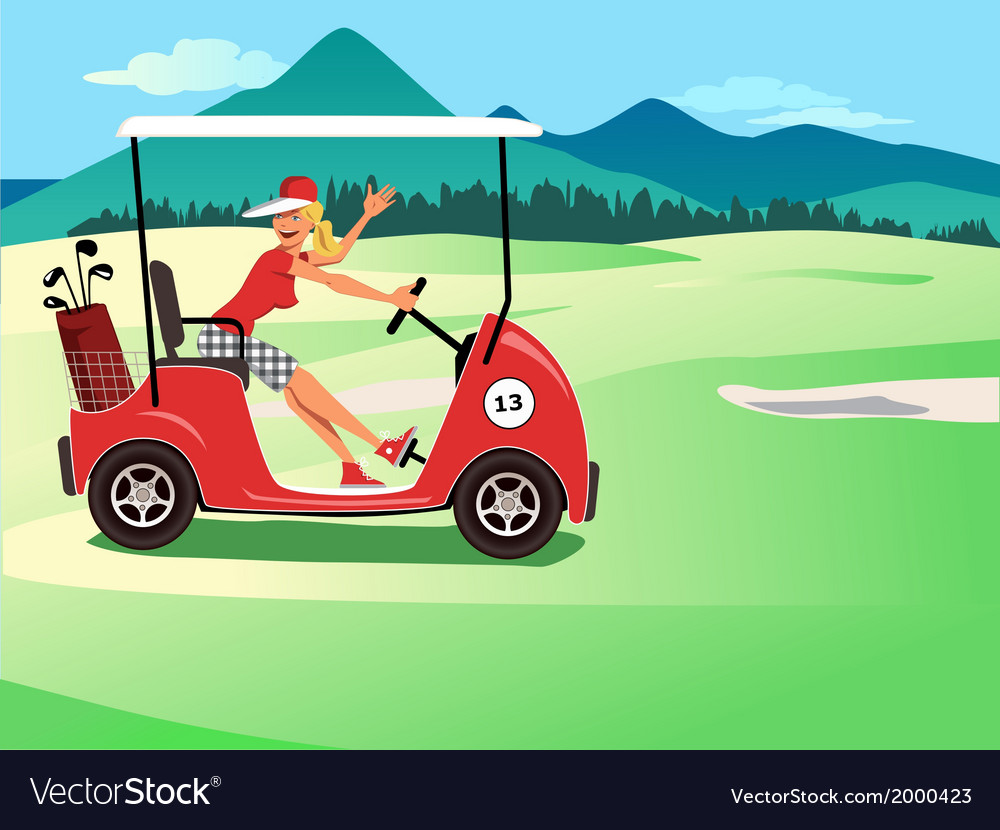 Woman driving a golf cart vector | Price: 3 Credit (USD $3)