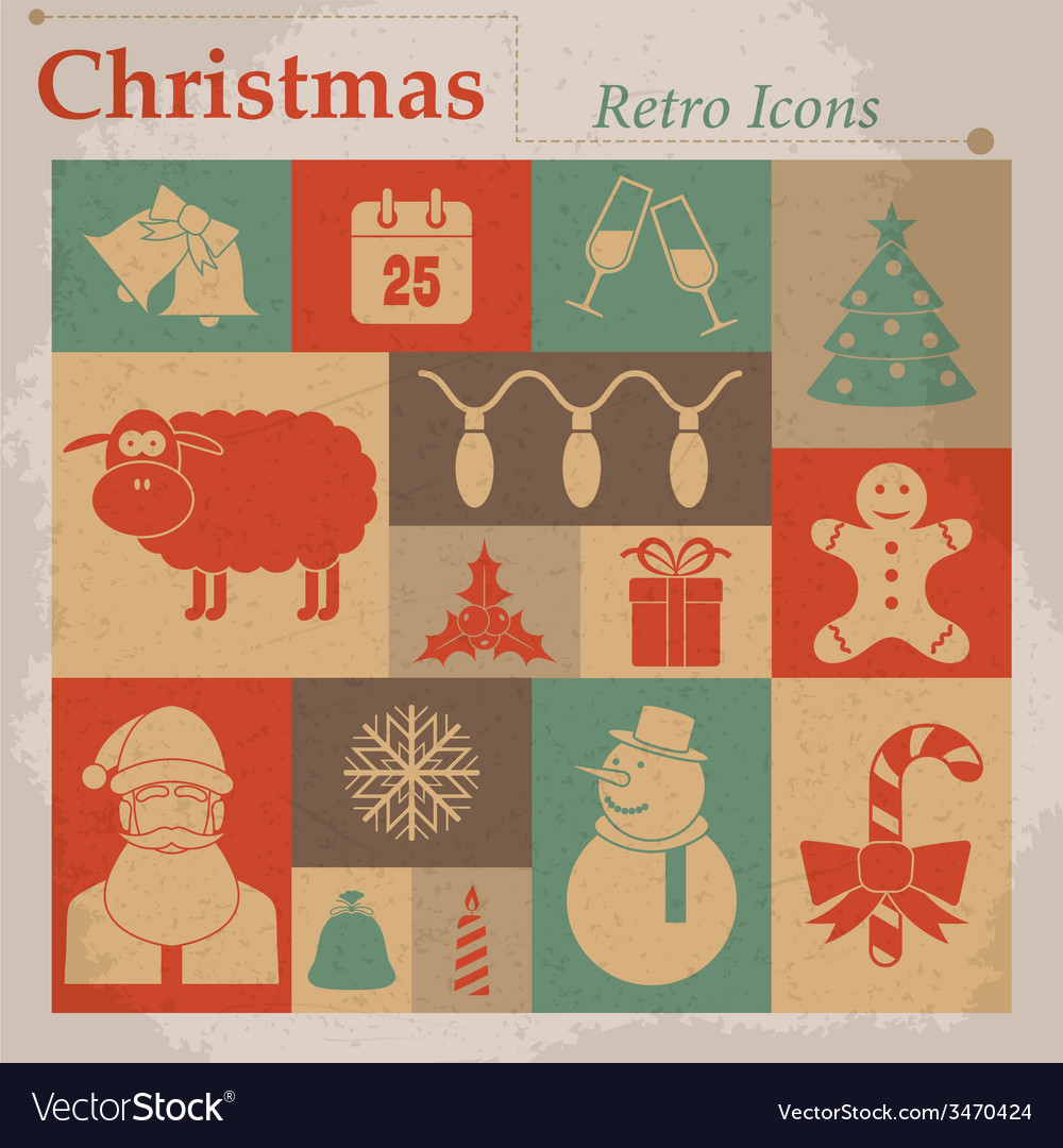 Christmas retro icons vector | Price: 1 Credit (USD $1)