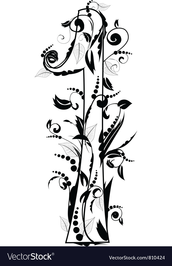 Foliage number 1 vector | Price: 1 Credit (USD $1)