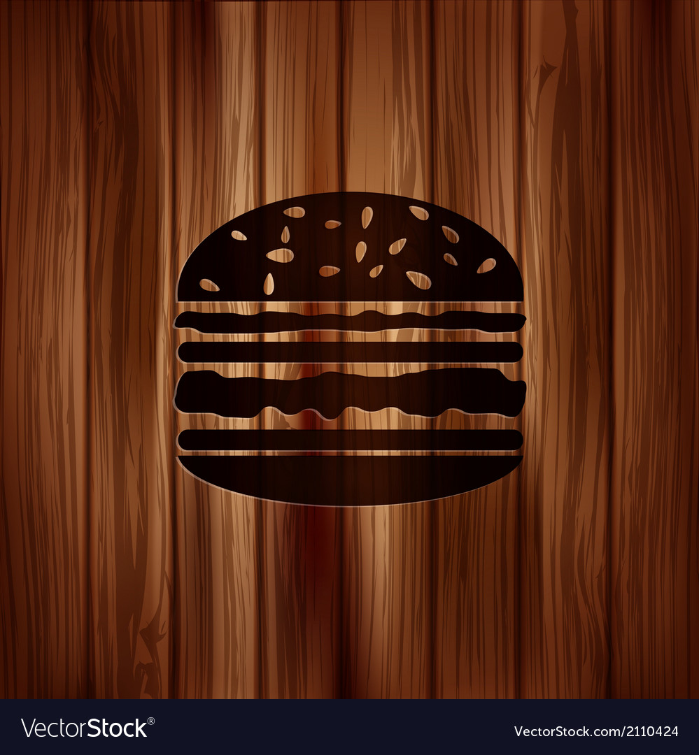 Hamburger web icon wooden background vector | Price: 1 Credit (USD $1)