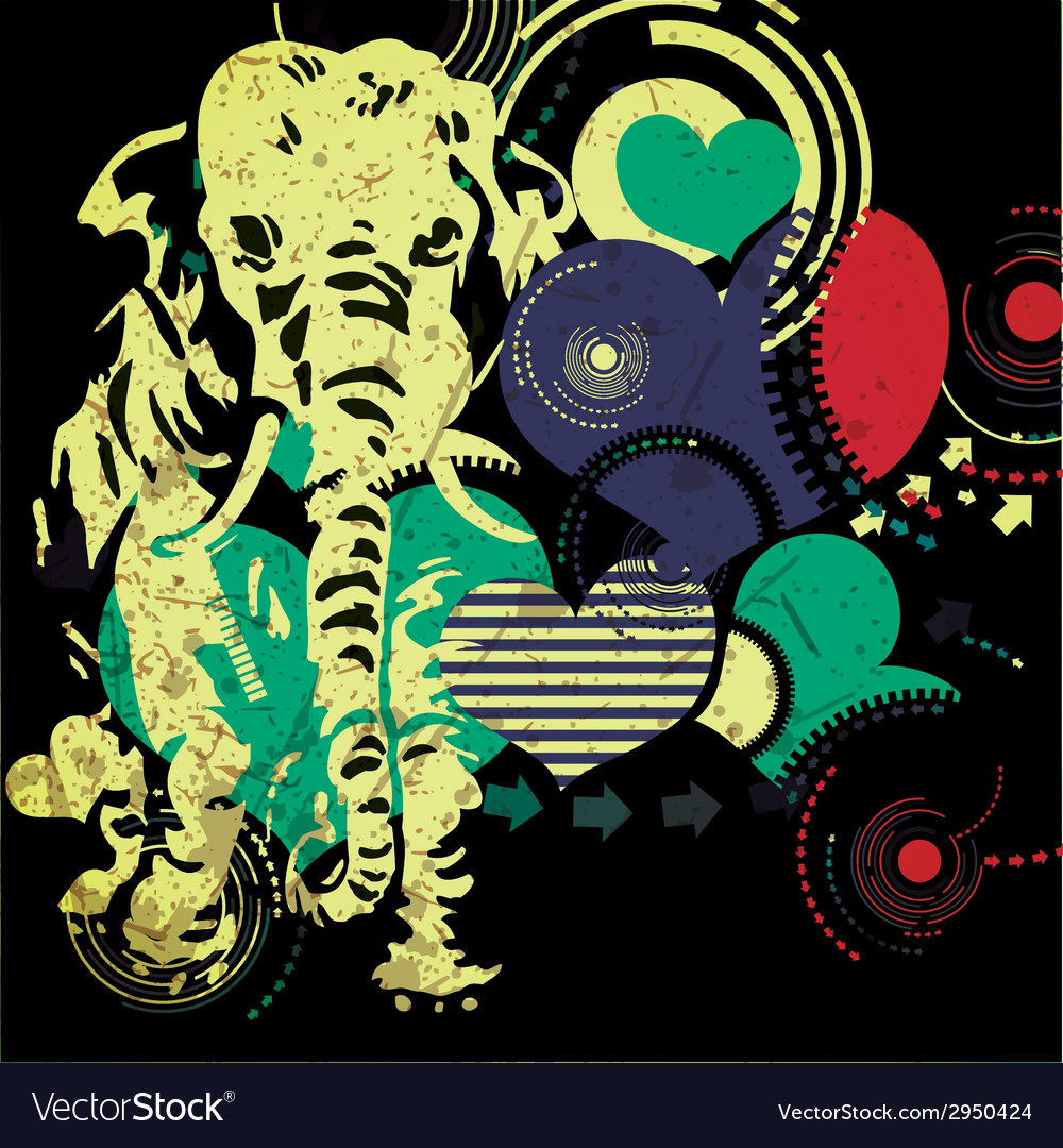 Retro elephant with hearts vector | Price: 1 Credit (USD $1)