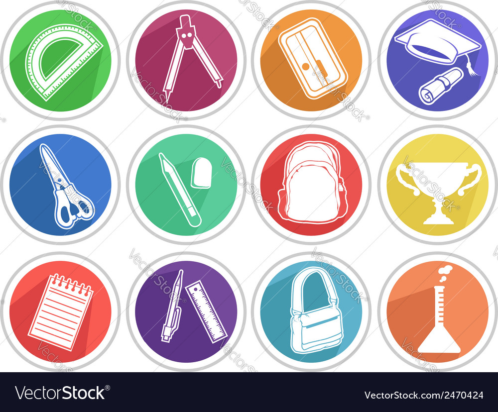 School icon pencil book bag etc vector | Price: 1 Credit (USD $1)