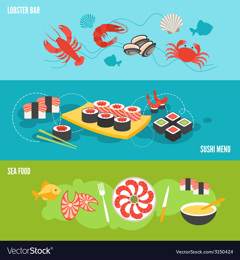 Seafood banner set vector | Price: 1 Credit (USD $1)