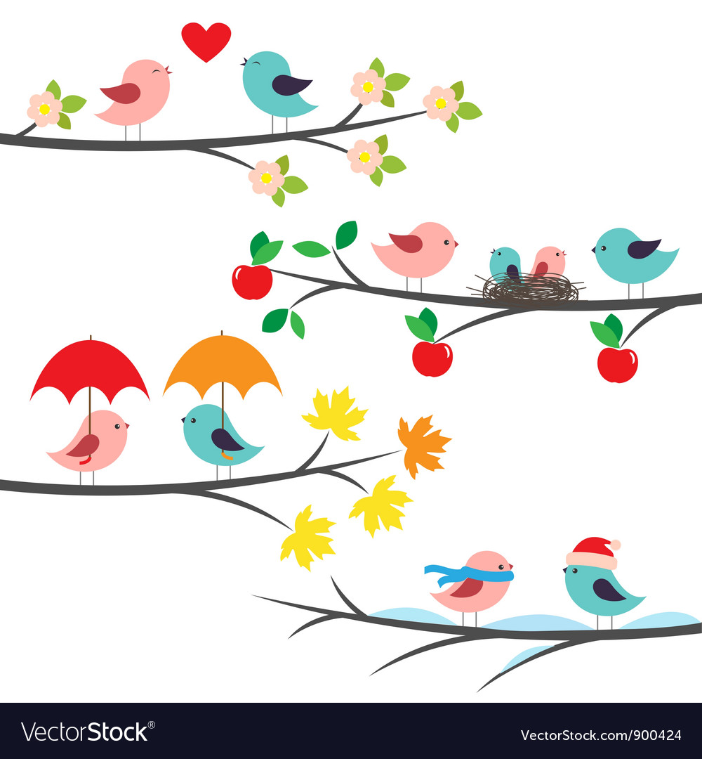 Seasonal branches and birds vector | Price: 1 Credit (USD $1)