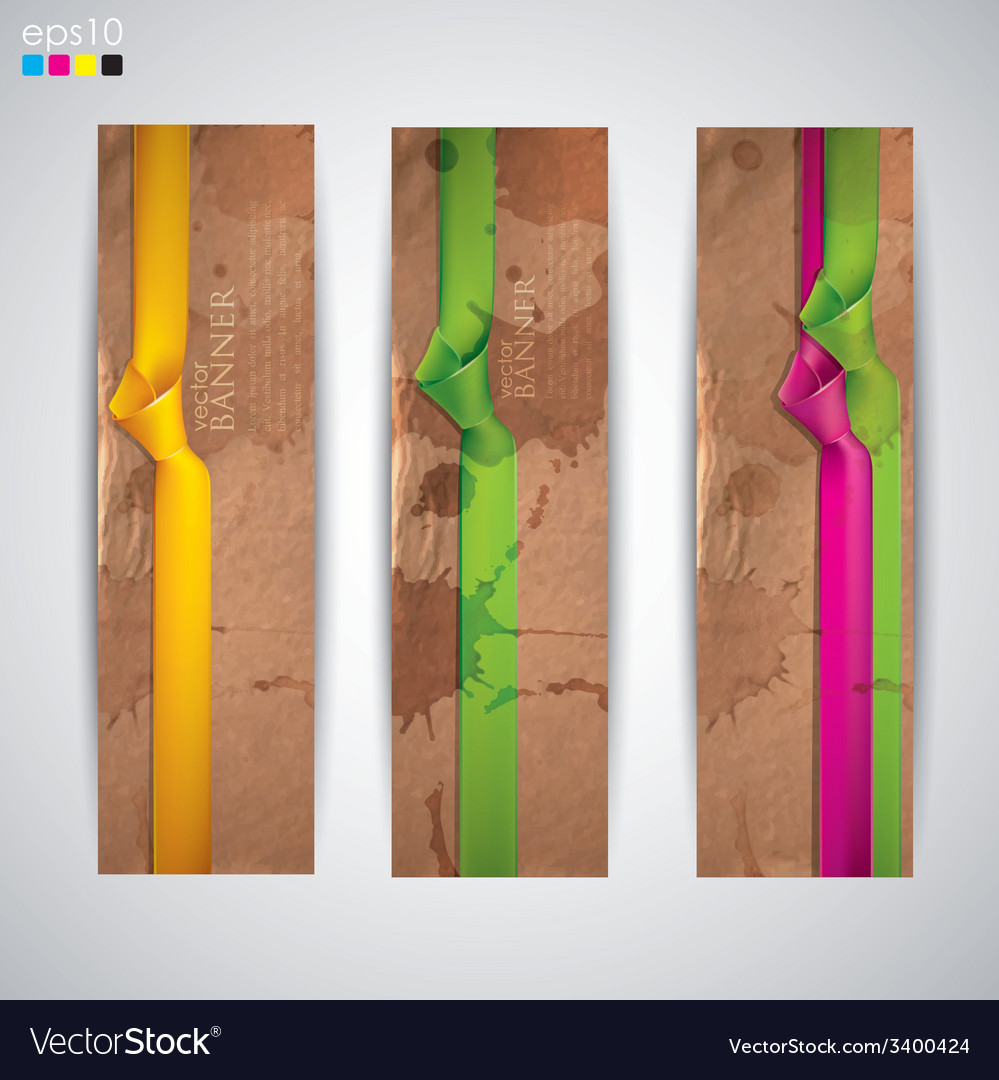 Set of banners with grunge cardboard texture and vector | Price: 1 Credit (USD $1)