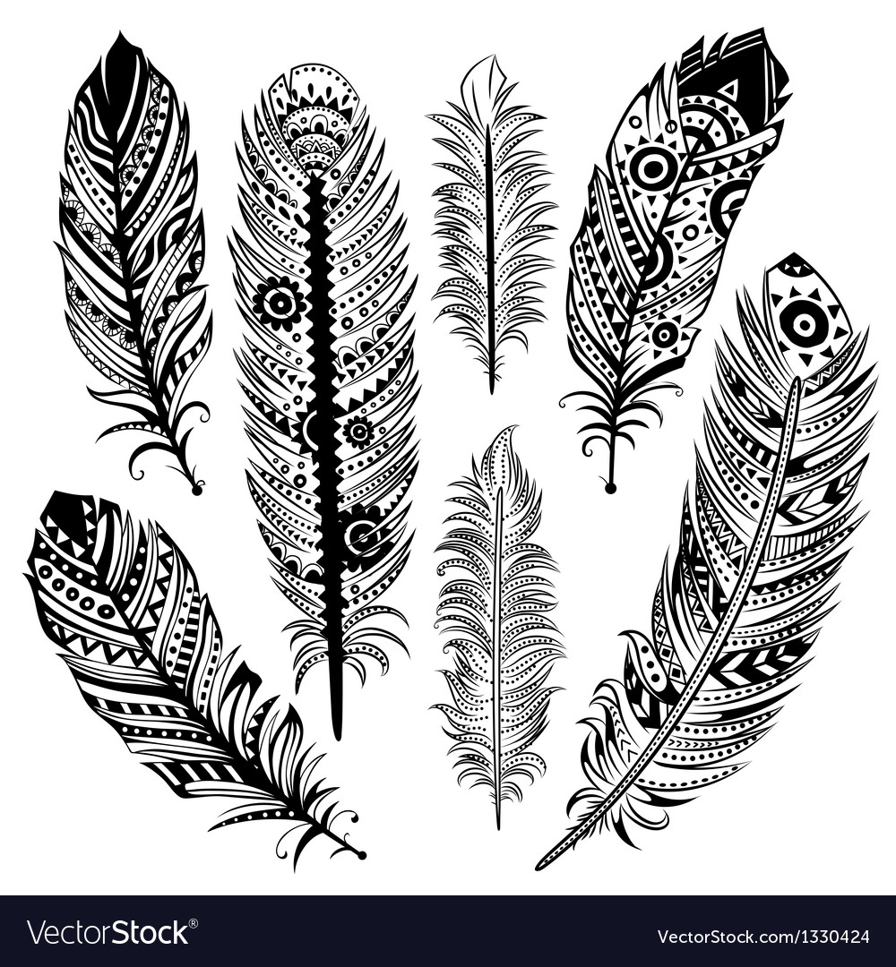 Set of ethnic feathers vector | Price: 3 Credit (USD $3)