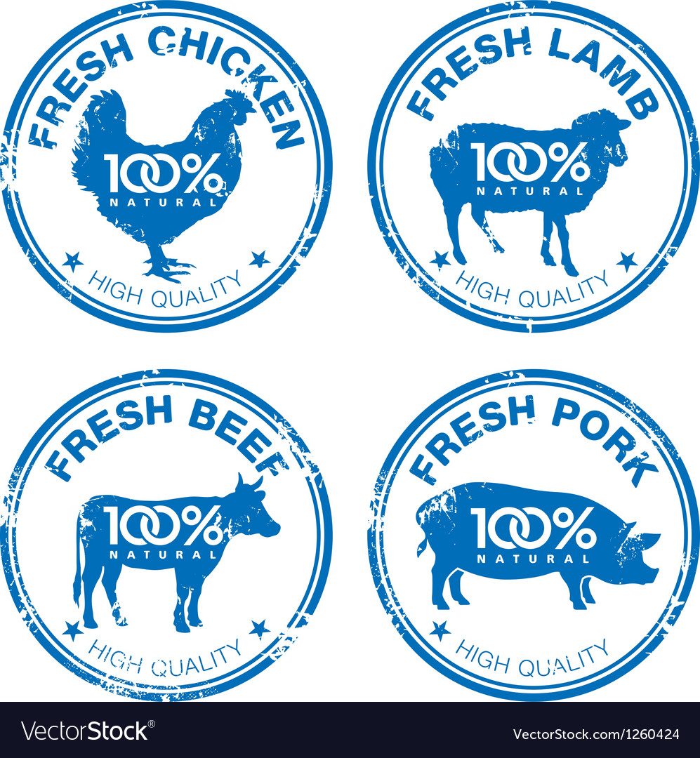 Set of fresh meat stamps vector | Price: 1 Credit (USD $1)