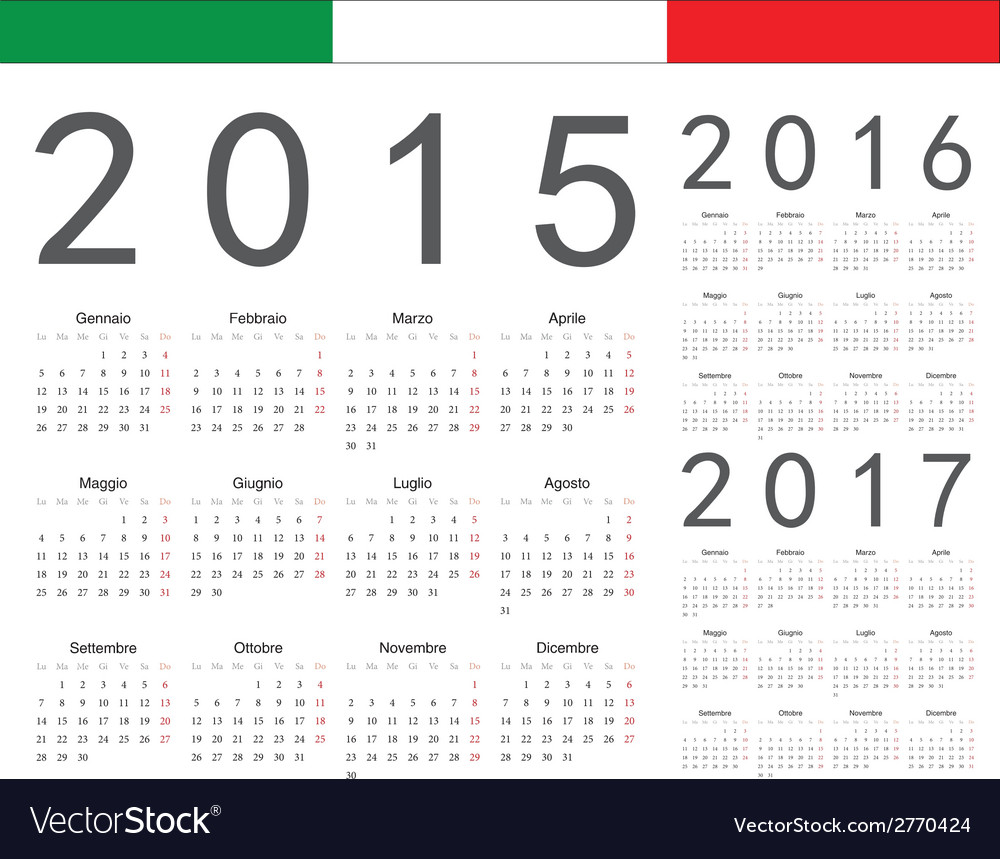 Set of italian 2015 2016 2017 year calendars vector | Price: 1 Credit (USD $1)