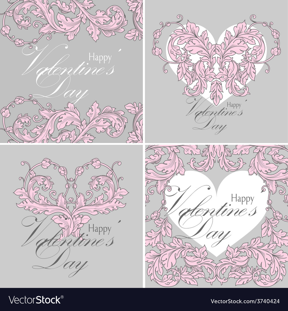 Set of valentines day greeting cards vector | Price: 1 Credit (USD $1)