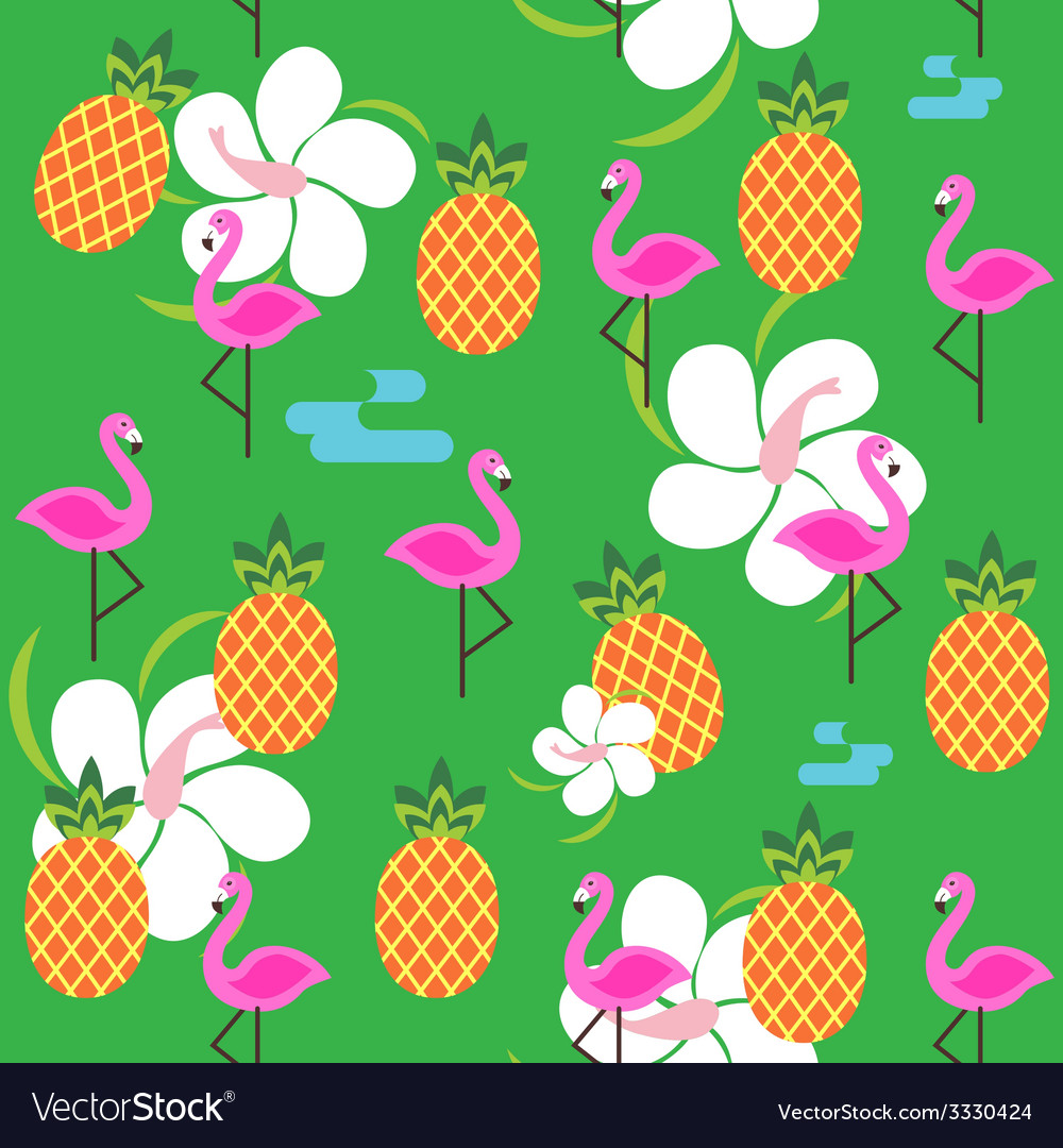 Summer seamless print with flamingo and pineapples vector   Price: 1 Credit (USD $1)