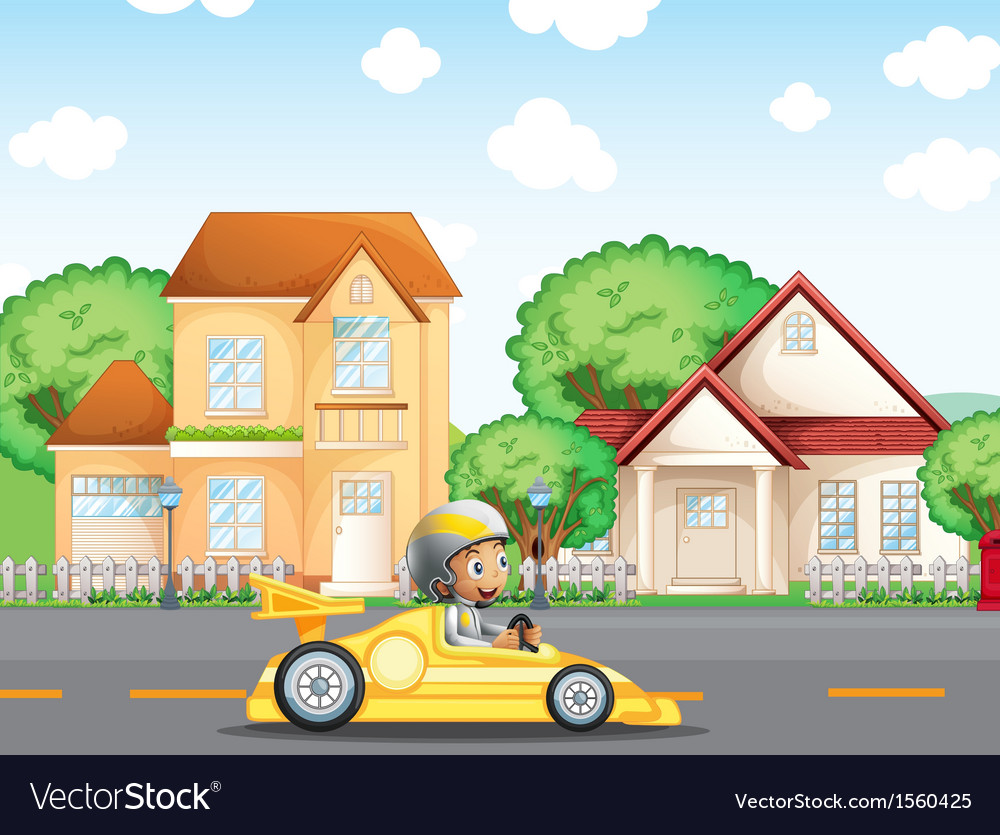 A boy in his racing car across the neighborhood vector | Price: 3 Credit (USD $3)