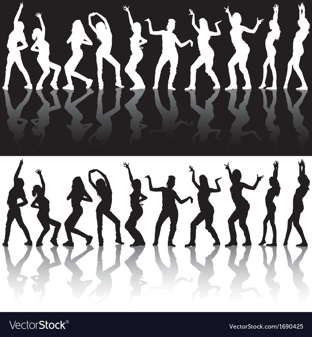 Dancing girls silhouettes vector | Price: 1 Credit (USD $1)