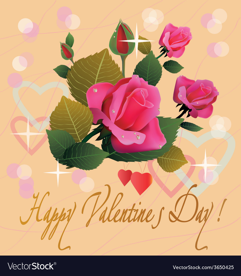 Flowers postcard valentine s day vector | Price: 1 Credit (USD $1)