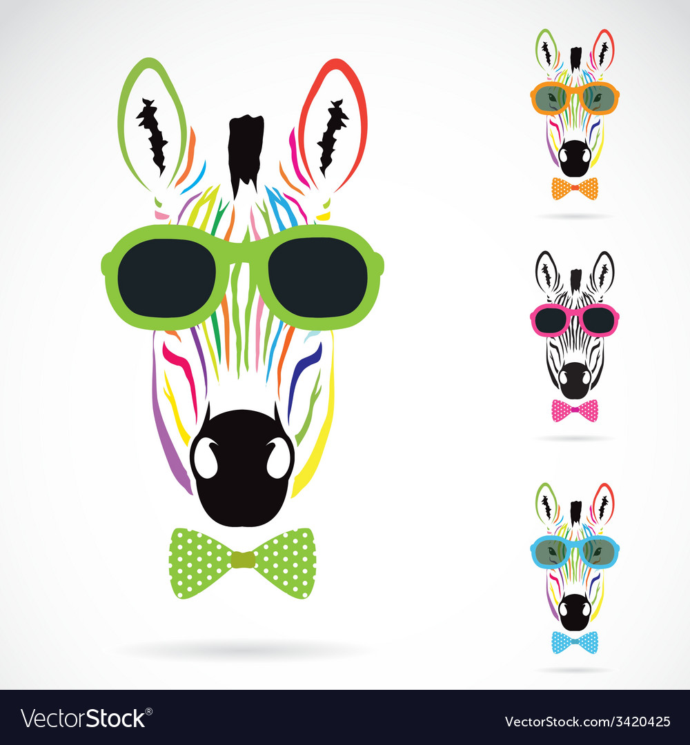 Image of a zebra wear glasses vector | Price: 1 Credit (USD $1)