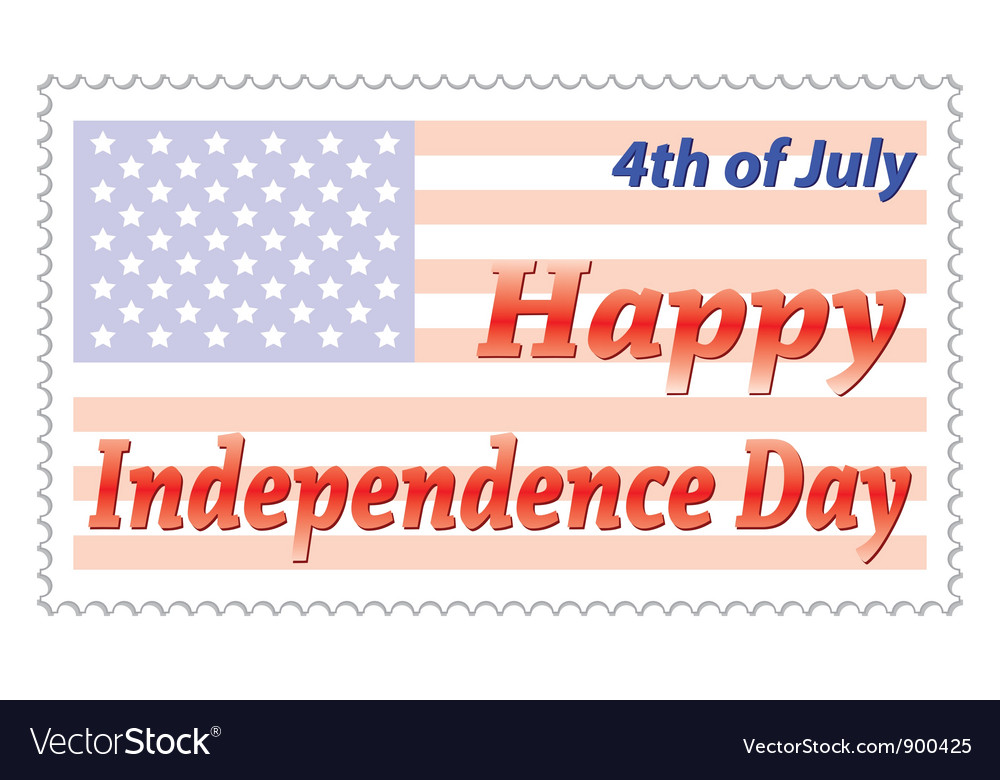Independence day post stamp vector | Price: 1 Credit (USD $1)