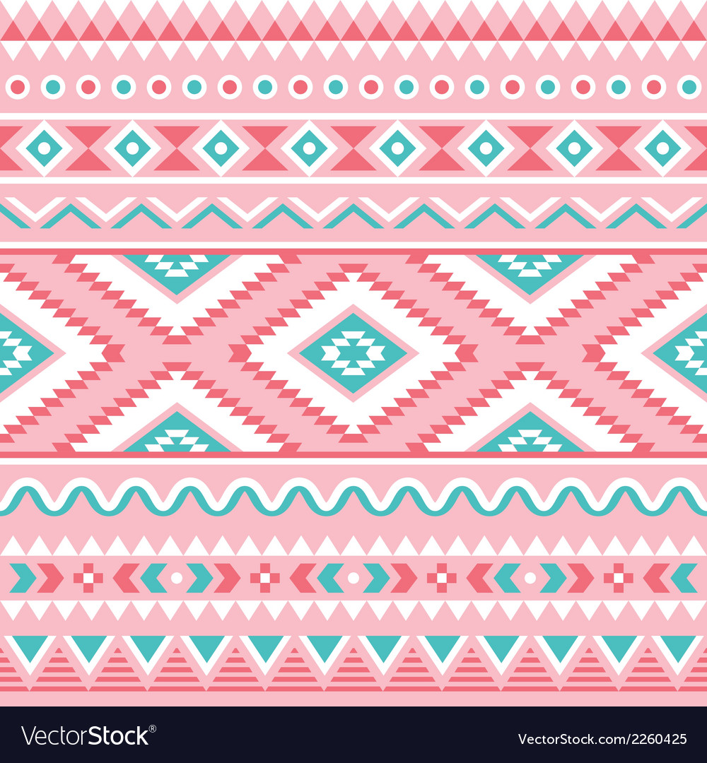Tribal seamless pattern aztec pink and green vector | Price: 1 Credit (USD $1)