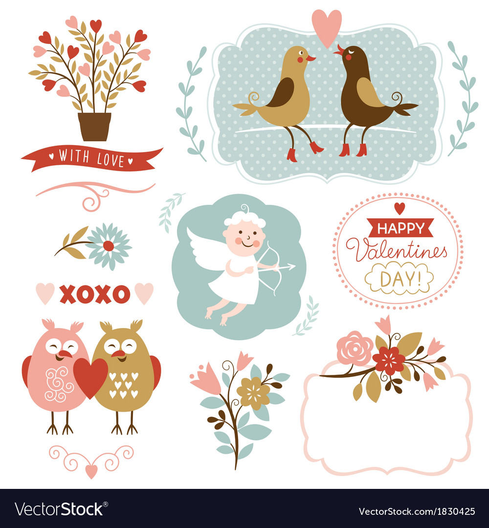 Valentines day graphic elements set vector | Price: 1 Credit (USD $1)