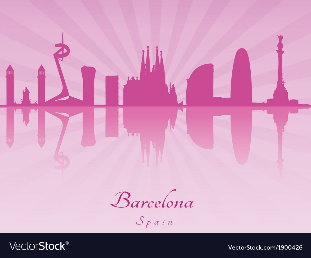 Barcelona skyline in purple radiant orchid vector | Price: 1 Credit (USD $1)