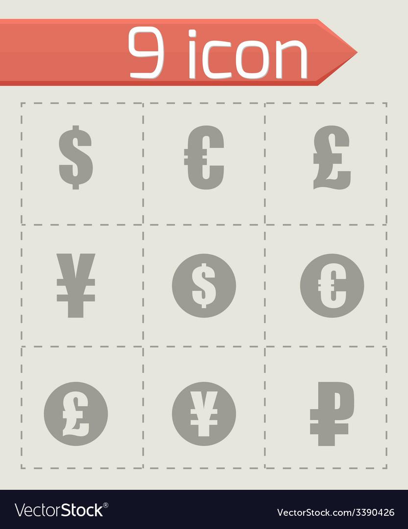 Black currency symbols icons set vector | Price: 1 Credit (USD $1)
